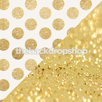 Gold Glitter Dots / Gold Twinkle Lights Bokeh - Items 2120 & 1761