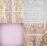 Four Pack Combo for Less - 4 Photography Backdrops - Items 1765, 1444, 1397 & 1796 - As Seen or Mix and Match