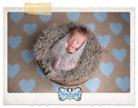 Blue Hearts Burlap Photography Backdrop - Item 2228