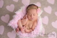 Pink Hearts Burlap Photography Backdrop - Item 2245