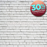 CLEARANCE - VINYL 5ft x 5ft White Brick Wall Backdrop for Photos or Brick Floor Mat for Studio Photography - Item 1444A