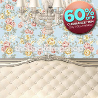 CLEARANCE - VINYL - 8ft x 8ft Shabby Chic Bed Backdrop - White Headboard Photography Background - Childrens Bed Backdrop - Vinyl - Item 1384