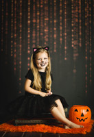 Black and Orange Halloween String of lights Backdrop - Item 5501