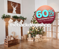 CLEARANCE - VINYL -6ft x 6ft Rustic Christmas Tree Fireplace Photography Backdrop - Holiday Scenic Backdrop - Christmas Drop - Exclusive Design - Item 3030