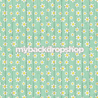 Daisy Printed Blue Wood Floral Photography Backdrop - Item 3039