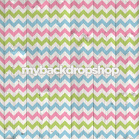 Pastel Pink and Blue Chevron Wood Photography Backdrop - Item 3041