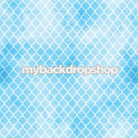 Blue and White Distressed Quatrefoil Tile Photography Backdrop - Item 3053
