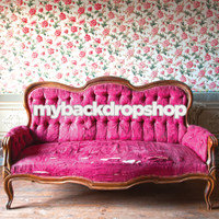 Shabby Floral Wallpaper Photo Prop - Burgundy Sofa Couch Photography Backdrop - Item 3056