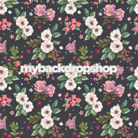 Pink and White Floral Wallpaper Photography Backdrop - Item 3086