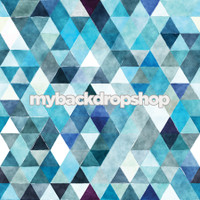 Pastel Blue Watercolor Abstract Kaleidoscope Backdrop for Photos - Item 3089