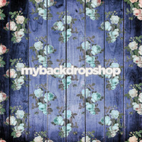 Shabby Chic Blue Floral Wood Photography Backdrop - Blue Wood Floor  - Item 3098