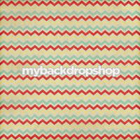 Distressed Red and Yellow Chevron Photography Backdrop - Red and Teal Zig Zag Backdrop - Item 3139
