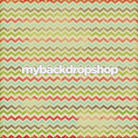Distressed Red and Green Chevron Photography Backdrop - Turquoise and Orange Zig Zag Backdrop - Item 3140