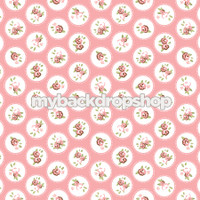 Pink and White Flower Backdrop - Pink and White Dot Prop for Photos - Item 3156