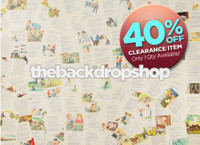 CLEARANCE - VINYL - 6ft x 5ft Children's Book Backdrop - Storybook Pages Photo Background - Vintage Newspaper - Exclusive Design - Item 2139