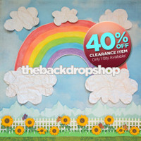 CLEARANCE - VINYL - 4ft x 7ft Kid's Painted Watercolor Rainbow Photography Backdrop - Blue Sky Flowers and Fence Backdrop - Exclusive Design - Item 2089