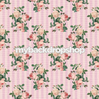 Pink Rose Floral Stripe Wallpaper Backdrop - Flower Backdrop for Photos - Item 3170