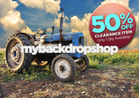 CLEARANCE - POLY - 7ft x 5ft Tractor Photography Backdrop - Fun Wedding Photography Backdrop or Childrens Photo Prop - Item 1467