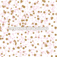 Pink and Gold Glitter Polka Dot Photography Backdrop - Light Pink Dot Photo Prop - Item 3182