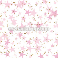 Gold Glitter Star Photography Drop - Pink and Gold Glitter Stars Photography Backdrop - Item 3184