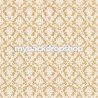 Tan Damask Patterned Photography Backdrop - Beige Damask Wallpaper Photo Prop - Item 3212