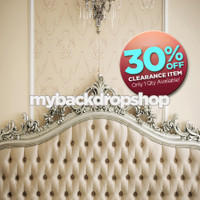 CLEARANCE - VINYL - 8ft x 8ft Vinyl Photography Backdrop - Fancy Tufted Bed Headboard - Item 264a