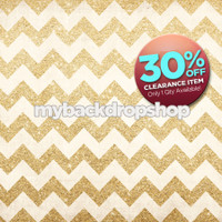 CLEARANCE - VINYL - 5ft x 5ft Gold Glitter Chevron Photography Backdrop - Party Photo Booth Backdrop - Exclusive Design - Item 1984