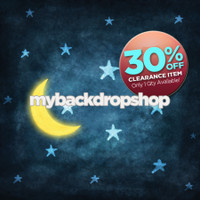 CLEARANCE - VINYL - 4ft x 4ft Moon and Stars Photography Backdrop - Children's Photo Background Prop - Vinyl - Item 1575