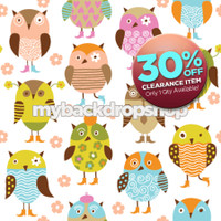 CLEARANCE - VINYL - 4ft x 4ft Owl Theme Photography Backdrop for Kid's Photoshoots - Portrait Photography Background - Item 574