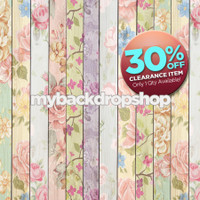 CLEARANCE - VINYL - 5ft x 5ft Shabby Chic Pastel Floral Wood Floordrop – Painted Flowers Wood Plank Photography Backdrop - Exclusive Design – Item 1765