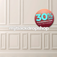 CLEARANCE - VINYL - 5ft x 7ft Fancy White Wall Photography Backdrop – Wall Panels Chair Rail and Baseboard Backdrop - Item 1846