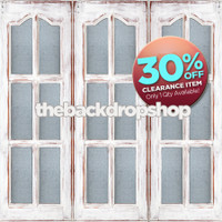 CLEARANCE - VINYL - 5ft x 5ft Cottage Window Photography Backdrop – Painted White Windowpane Door Photo Backdrop – Item 1773