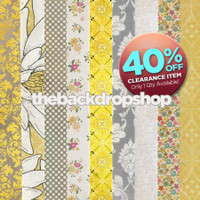 CLEARANCE - VINYL - 5ft x 5ft Yellow and Gray Scrapbook Paper Stripe Photography Backdrop - Pattern and Floral Photo Backdrop - Exclusive Design – Item 2069