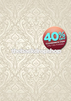 CLEARANCE - POLY - 5ft x 7ft Fancy Ivory Damask Wallpaper Backdrop for Photos – Luxury Photography Backdrop - Item 1803