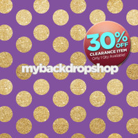 CLEARANCE - VINYL - 4ft x 4ft Purple and Gold Glitter Dot Backdrop - Polka Dot Photo Background - Girls Photography Back Drop - Exclusive Design - Item 2132