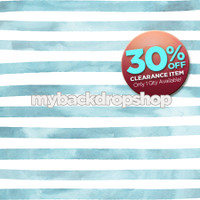 CLEARANCE - VINYL - 4ft x 4ft Blue Watercolor Stripe Photo Prop - Blue and White Stripe Boy's Birthday Photography Backdrop - Cake Smash Photo Prop - Item 3048