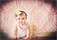 Newborn Girl  Photography Backdrop - Pink Damask Print Backdrop - Item 209