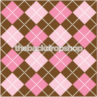 Brown and Pink Argyle Pattern Studio Backdrop - Girls Photo Backdrop - Item 225