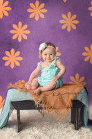 Orange Flower Print Photography Backdrop - Item 283