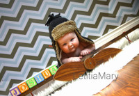 Chevron Pattern Photography Backdrop - Baby Boy Picture Background - Blue and Brown Photo Prop - Item 560