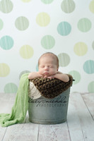 Baby Boy Photography Prop - Blue Green and Yellow Polka Dot Backdrop for Portraits - Item 851