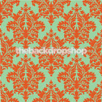 Orange Damask Photography Backdrop - Item 869
