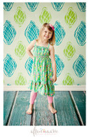 Turquoise and Lime Green Wallpaper Backdrop for Photography - Item 891