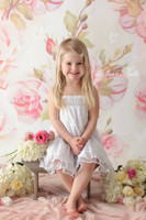Shabby Pink Rose Wallpaper Photography Backdrop - Newborn Girl Photoshoot Prop - Item 903