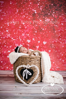 Pink Heart Glitter Photography Backdrop - Childrens or Teen Portrait Prop for Photoshoots - Item 1034