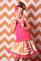 Orange and White Chevron Photography Backdrop  - Item 1202