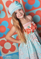 Orange and Blue Retro Flower Photography Backdrop - Item 1351