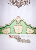 Fancy Bed Headboard Backdrop for Photography - Boudoir or Kid's Headboard Drop - Green and Gold Bed Photo Back Drop - Item 1377