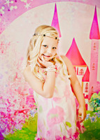Fairy Tale Photography Backdrop - Princess in Castle Photo Backdrop for Child's Portraits - Item 1390