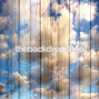 Sky and Clouds on Wood Planks Photography Backdrop -  Photo Backdrop - Item 1608